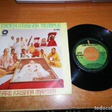 Discos de vinilo: RADNA KRISHNA TEMPLE HARE KRISHNA MANTRA GEORGE HARRISON SINGLE VINILO APPLE 1969 THE BEATLES 2TEMAS. Lote 217228493
