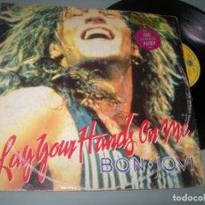 Dischi in vinile: BON JOVI - LAY YOUR HANDS ON ME .. MAXI 3 TEMAS - ENGLAND - 1989 FIRMADO POR LA BANDA. Lote 217251866