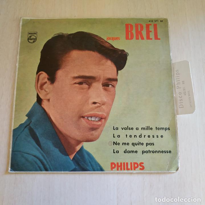 JACQUES BREL - LA VALSE A MILLE TEMPS / LA TENDRESSE / NE ME QUITE PAS + 1 - EP PHILIPS 1960 SPAIN (Música - Discos de Vinilo - EPs - Canción Francesa e Italiana)