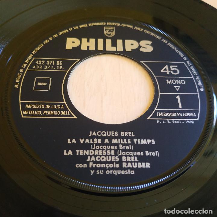 Discos de vinilo: JACQUES BREL - LA VALSE A MILLE TEMPS / LA TENDRESSE / NE ME QUITE PAS + 1 - EP PHILIPS 1960 SPAIN - Foto 3 - 247218450