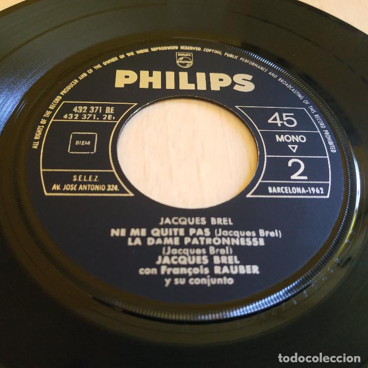 Discos de vinilo: JACQUES BREL - LA VALSE A MILLE TEMPS / LA TENDRESSE / NE ME QUITE PAS + 1 - EP PHILIPS 1960 SPAIN - Foto 4 - 247218450