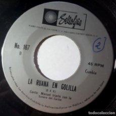 Discos de vinilo: MANUEL IRIARTE CON LA SONORA DEL CARIBE - LA RUANA EN GOLILLA - SINGLE EL SALVADOR -SELLOGRIS CUMBIA. Lote 217372662