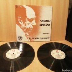 Discos de vinilo: ANTONIO MAIRENA. EN MEMORIA.. SU PALABRA Y SU CANTE. 2XLPS.. Lote 217402793