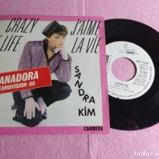 "Discos de vinilo: 7"" SANDRA KIM – CRAZY OF LIFE / J'AIME LA VIE - CARRERE 14.027 - EUROVISION - PROMO (EX/EX-). Lote 217464327"