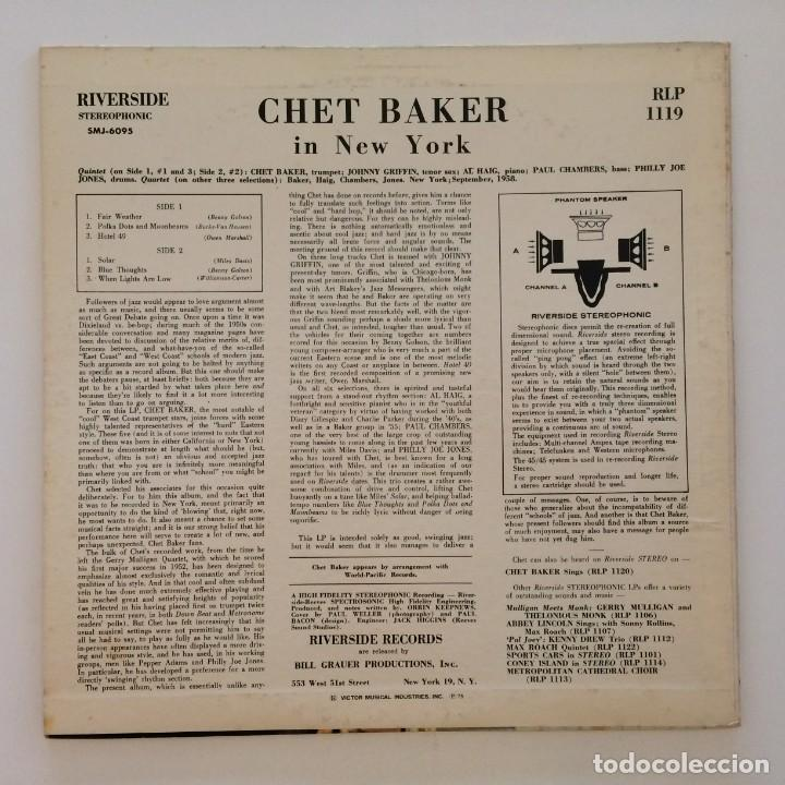 Discos de vinilo: Chet Baker – In New York USA 1985 Original Jazz Classics - Foto 2 - 217471998