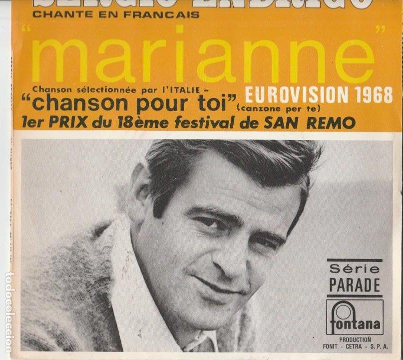 SERGIO ENDRIGO MARIANNE CHANSON POUR TOI SANREMO EUROVISION 1968 LABEL FONTANA SERIE PARADE (Música - Discos de Vinilo - Maxi Singles - Festival de Eurovisión)