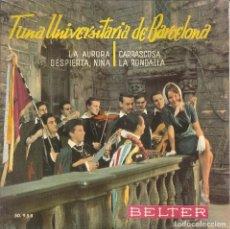 Discos de vinilo: TUNA UNIVERSITARIA DE BARCEPELONA - LA AURORA/CARRASCOSA/DESPIERTA, NIÑA/LA RONDALLA. Lote 289783228