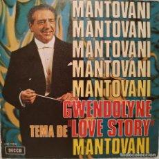 Discos de vinilo: MANTOVANI - GWENDOLYNE / TEMA DE ''LOVE STORY'' - SINGLE DECCA DEL AÑO 1971 EN EXCELENTE ESTADO. Lote 217658947
