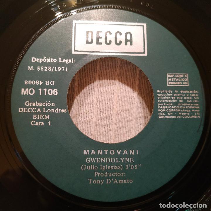 Discos de vinilo: MANTOVANI - GWENDOLYNE / TEMA DE LOVE STORY - SINGLE DECCA DEL AÑO 1971 EN EXCELENTE ESTADO - Foto 3 - 217658947