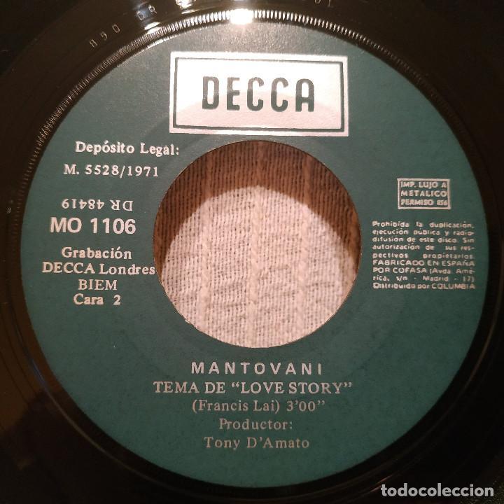 Discos de vinilo: MANTOVANI - GWENDOLYNE / TEMA DE LOVE STORY - SINGLE DECCA DEL AÑO 1971 EN EXCELENTE ESTADO - Foto 4 - 217658947