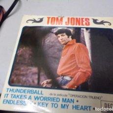 Discos de vinilo: TOM JONES - THUNDERBALL , IT TAKES A WORRIED MAN , ENDLESSLY , KEY TO MY HEART . DISCO DOBLE. Lote 217685772