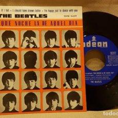 Discos de vinilo: THE BEATLES - QUE NOCHE LA DE AQUEL DIA - ODEON 1964 ETIQUETA AZUL MARINO. Lote 217718813