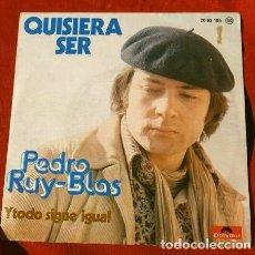 Discos de vinilo: PEDRO RUY-BLAS (SINGLE 1976) QUISIERA SER - Y TODO SIGUE IGUAL - RUY BLAS. Lote 217733242