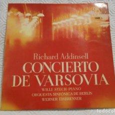 Discos de vinilo: CONCIERTO DE VARSOVIA. RICHARD ADDINSELL. ORQUESTA SINFONICA DE BERLIN. ORLADOR 1964.. Lote 217767686