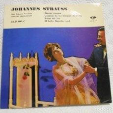 Discos de vinilo: JOHANNES STRAUSS. GRAN ORQUESTA DE CUERDA. DIRECCION SIMON KRAPP. SINGLE CON 4 VALSES. VERGARA 1961.. Lote 217767951