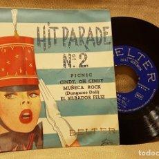 Discos de vinilo: HIT PARADE Nº 2 - PICNIC - CINDY OH CINDY - MUÑECA ROCJK - EL SILBADOR FELIZ. Lote 217768160