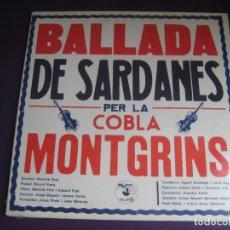 Discos de vinilo: COBLA MONTGRINS – SARDANES - LP PO POT 1979 PRECINTADO - CATALUÑA FOLK CATALUNYA. Lote 217801602