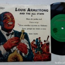 Discos de vinilo: EP LOUIS ARMSTRONG AN THE ALL STARS, BLUES DEL JARDIN REAL, AMANTE, NENA, PORQUE NO VIENES A CASA+1. Lote 217927758