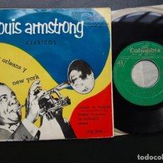 Discos de vinilo: EP LOUIS ARMSTRONG, CLASICOS; STARDUST, THE HUCKLEBUCK, INDIANA. Lote 217934635