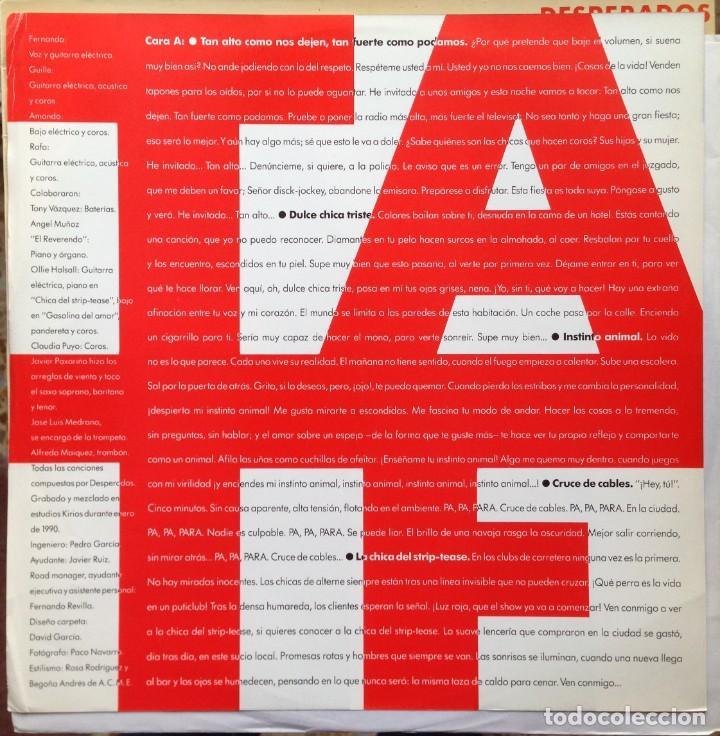 Discos de vinilo: Desperados - Tan alto como nos dejen, tan fuerte como podamos - LP Nola 1990. Edición española. - Foto 4 - 217958986