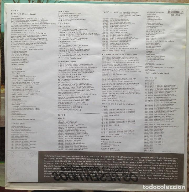 Discos de vinilo: Os Resentidos - Música doméstica. LP. Grabaciones Accidentales. Edición española. - Foto 4 - 217959212