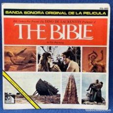 Discos de vinilo: SINGLE THE BIBLE - LA BIBLIA - BANDA SONORA ORIGINAL DE LA PELÍCULA - ESPAÑA - 1966. Lote 218022182