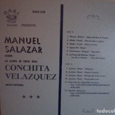 Discos de vinilo: LP DE IMPORTACION ANTIGUO MANUEL SALAZAR TENOR / CONCHITA VELAZQUEZ SOPRANO : CANCION ASTURIANA. Lote 218070636