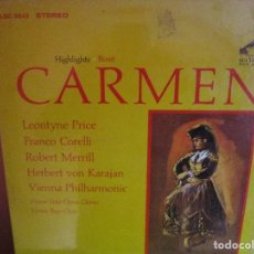 Discos de vinilo: CARMEN BIZET - HERBERTT VON KARAJAN- FRANCO CORELLI - LEONTYNE PRICE - LP NUEVO PRECINTADO USA. Lote 218071286