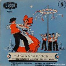 Discos de vinilo: SCHNOCKELOCH. MÚSICA FOLKLÓRICA ALSACIANA. PROMENADE EN TRAINEAU + 3. EP FRANCIA. Lote 218097575