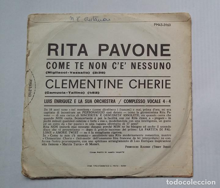 Discos de vinilo: Rita Pavone - Come te non ce nessuno. CLEMENTINE CHERIE. SINGLE. TDKDS13 - Foto 2 - 218118588