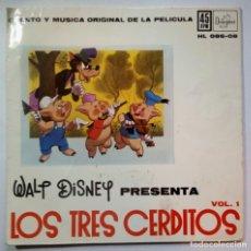 Discos de vinilo: LOS TRES CERDITOS - CUENTO Y MUSICA ORIGINAL - SINGLE 1962 (WALT DISNEY). Lote 218119161