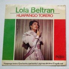 Discos de vinilo: LOLA BELTRÁN. HUAPANGO TORERO. SINGLE. TDKDS13. Lote 218125453