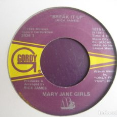 Disques de vinyle: MARY JANE GIRLS ‎– BREAK IT UP - SG MOTOWN 1985 - FUNK SOUL 80'S - DIRIA Q SIN USO. Lote 218145840