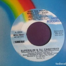 Discos de vinilo: SUPERSLIM & DJ CANDYMAN - GIVE THE PEOPLE WHAT THEY WANT - SG MCA 1990 - HIP HOP 90'S - SIN USO. Lote 218154523