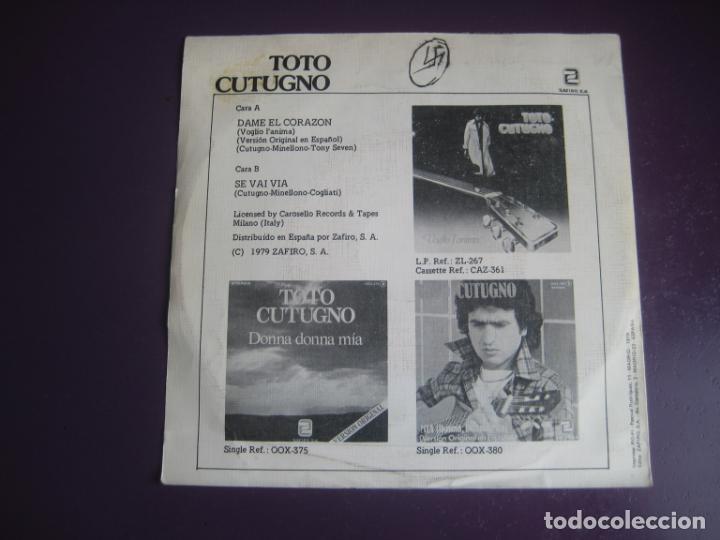Discos de vinilo: Toto Cutugno - Voglio LAnima (Dame El Corazón) - Sg ZAFIRO 1980 - ITALIA POP MELODICO 80S - - Foto 2 - 218185793