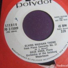 Discos de vinilo: FILARMONICA DE BERLIN + GEZA ANDA - SG POLYDOR 1970 - ELVIRA MADIGAN - ODISEA ESPACIO 2001 - CINE. Lote 218246548