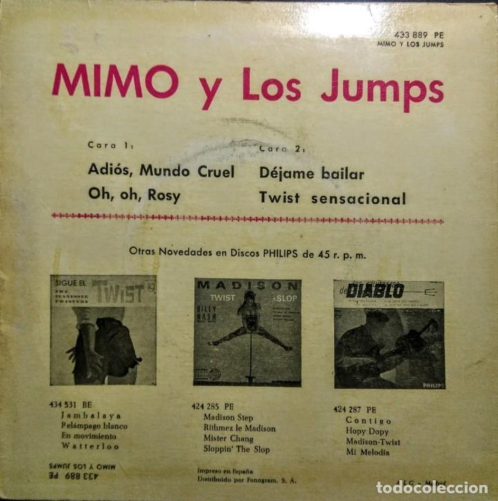 Discos de vinilo: EP MIMO Y LOS JUMPS : ADIOS MUNDO CRUEL + 3 - Foto 2 - 218338402
