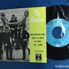 Discos de vinilo: BEATLES SINGLE EP EMI ODEON ESPAÑA RE EDICION LABEL AZUL CIELO REF.1J SIN USAR NUEVO MINT. Lote 218356362