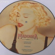 Disques de vinyle: MAXI SINGLE MADONNA PICTURE DISC CHERISH/ CHERISH/ SUPERNATURAL MADE IN ENGLAND. Lote 218395295