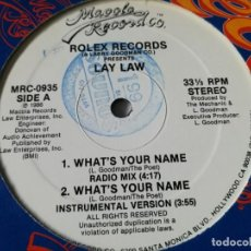 Discos de vinilo: LAY LAW - WHAT'S YOUR NAME - 1986. Lote 218438248
