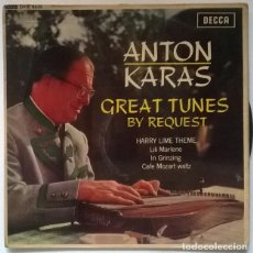 Discos de vinilo: ANTON KARAS. GREAT TUNES BY REQUEST: HARRY LIME THEME (EL TERCER HOMBRE BSO) + 3. DECCA UK 1963 EP. Lote 218444451