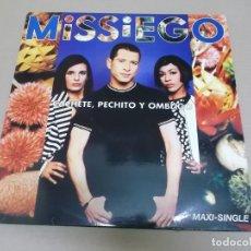 Discos de vinilo: MISSIEGO (MAXI) CACHETE, PECHITO Y OMBLIGO (3 TRACKS) AÑO 1996. Lote 218541415