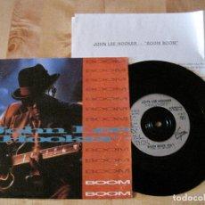 Discos de vinilo: SINGLE JOHN LEE HOOKER BOOM BOOM VIRGIN EUROPA + INSERT VIRGIN ESPAÑA BLUES. Lote 218555617