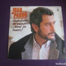 Dischi in vinile: JUAN PARDO - CIUDADANOS DEL MUNDO… (ABRID LOS BRAZOS) - SG HISPAVOX 1985 - NUEVO. Lote 218669363