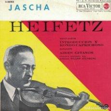 Discos de vinilo: JASCHA HEIFETZ, VIOLIN - SAINT SAENS / SARASATE (EP ESPAÑOL, RCA VICTOR 1962). Lote 218725507