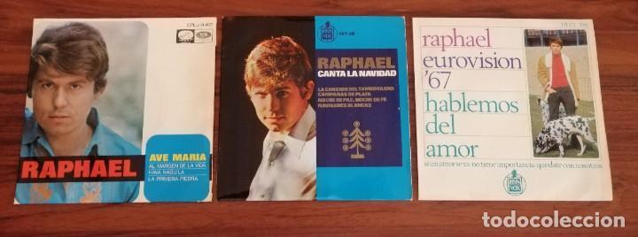 LOTE TRES DISCOS DE VINILO (EP) DE RAPHAEL. AVE MARÍA, EUROVISIÓN, NAVIDAD (Música - Discos de Vinilo - EPs - Solistas Españoles de los 70 a la actualidad)