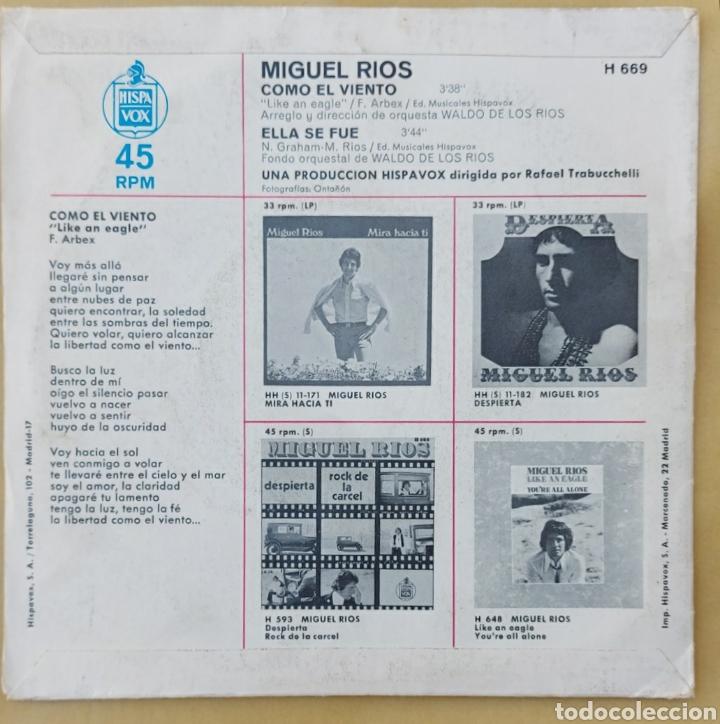 Discos de vinilo: Single Miguel Ríos- Como el viento - Foto 2 - 218733622
