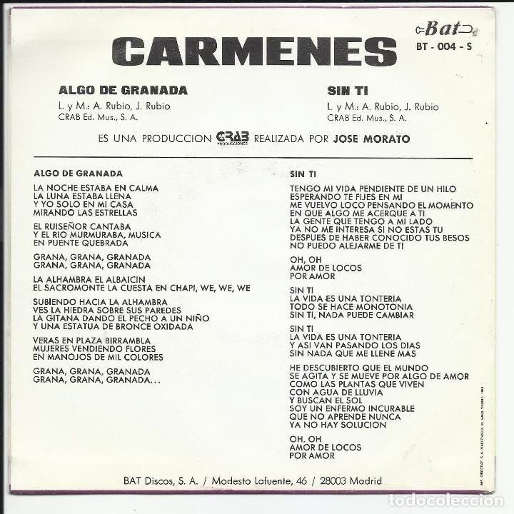 Discos de vinilo: CARMENES - ALGO DE GRANADA SG BAT DISCOS 1986 - Foto 2 - 218736192