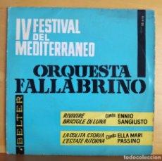 Discos de vinilo: ORQUESTA FALLABRINO - SINGLE - IV FESTIVAL DE LA CANCION DEL MEDITERRANEO. Lote 218821413