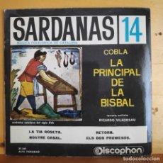 Discos de vinilo: SARDANAS POR LA PRINCIPAL DE LA BISBAL - SINGLE - AÑOS 60. Lote 218822970